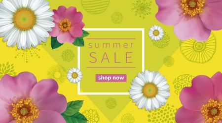 Fondo de la venta del verano con los escaramujos y la manzanilla de las flores. Resumen dibujado a mano textura de círculos. Foto de archivo - 81001460
