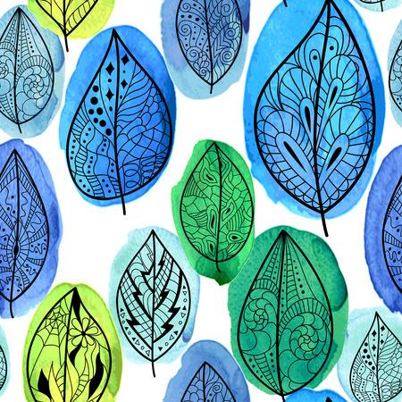 Patrón sin fisuras con hojas dibujadas a mano sobre fondo de acuarela. Fondo artístico abstracto. Foto de archivo - 81167904