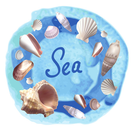 Seachels different shapes on blue watercolor background. Vector illustration Illustration