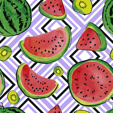 Summer seamless pattern with watermelon and kiwi fruit. Watercolor background. Illustration