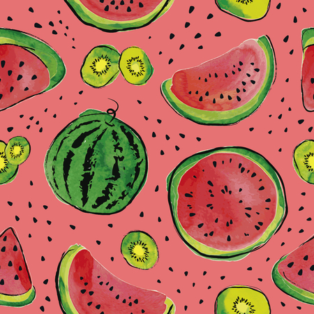 Summer seamless pattern with watermelon and kiwi fruit. Watercolor background. 向量圖像
