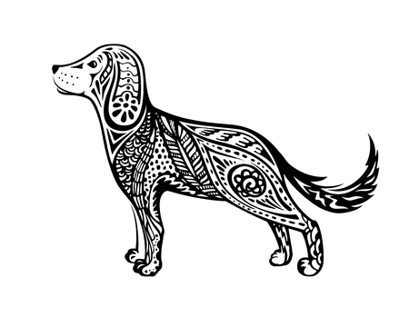 Dog is a symbol of the 2018 Chinese New Year. Sketch in Doodle style. Design for greeting cards, calendars, banners, posters, invitations. Illustration