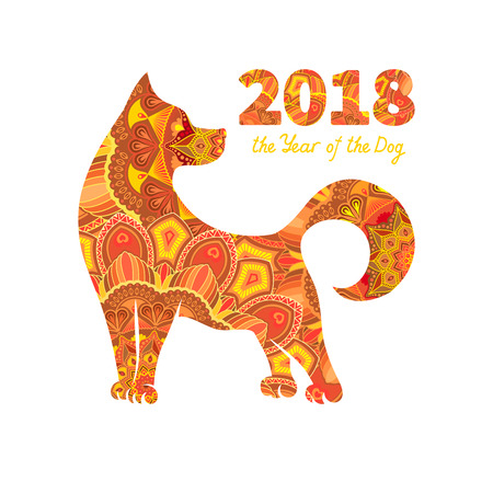 Dog is a symbol of the 2018 Chinese New Year. Design for greeting cards, calendars, banners, posters, invitations. Reklamní fotografie - 84274553