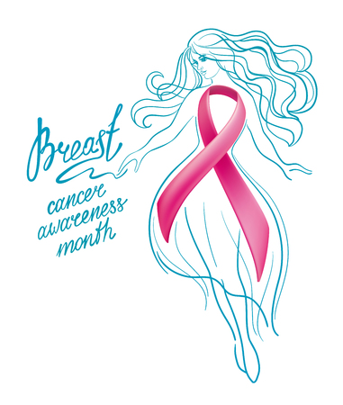 Beautiful girl with pink ribbon. October - Breast Cancer Awareness Month. Healthcare and medicine concept.