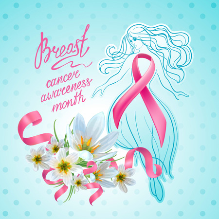 Beautiful girl with pink ribbon and flowers. October - Breast Cancer Awareness Month. Illusztráció