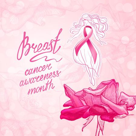 핑크 리본 꽃 배경으로 아름 다운 소녀. 10 월 - 유방암 인식의 달. 건강 관리 및 의학 개념입니다.
