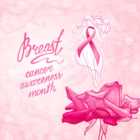 Hermosa chica con cinta rosa sobre un fondo floral. Octubre - Mes de Concientización sobre el Cáncer de Mama. Concepto de salud y medicina. Ilustración de vector