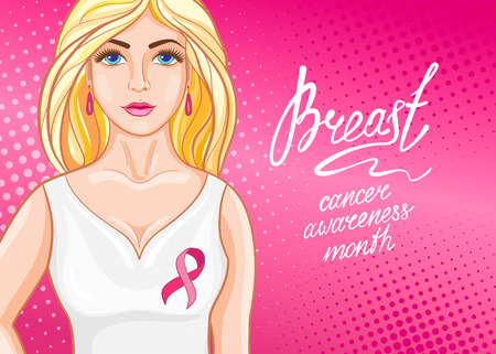 Beautiful girl with pink ribbon. October - Breast Cancer Awareness Month. Health care and medicine concept. 向量圖像