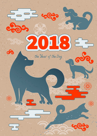 chinese astrology: Dog is a symbol of the 2018 Chinese New Year. Design for greeting cards, calendars, banners, posters, invitations.
