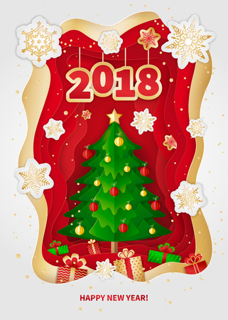 New Year 2018 greeting card design. Christmas tree, decorations, gifts and snowflakes. Paper arts and crafts style. Vector illustration.