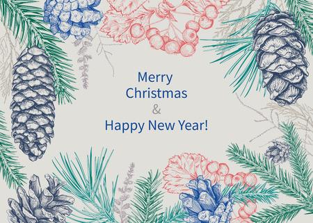 Kerstmis en Nieuwjaar achtergrond met verschillende takken en kegels. Dennenboom, ceder, dennen, thuja, meidoorn. Hand getrokken schets. Ontwerp voor wenskaarten, kalenders, spandoeken, posters, uitnodigingen