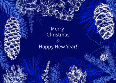 Kerstmis en Nieuwjaar achtergrond met verschillende takken en kegels. Dennenboom, ceder, dennen, arborvitae, meidoorn. Hand getrokken schets. Ontwerp voor wenskaarten, kalenders, banners, uitnodigingen