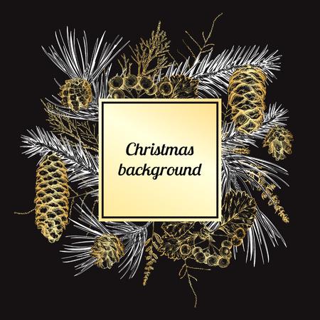Fondo de Navidad y año nuevo con diferentes ramas y conos. Abeto, cedro, pino, arborvitae, espino. Boceto dibujado a mano. Diseño para tarjetas de felicitación, calendarios, pancartas, invitaciones Foto de archivo - 88846159