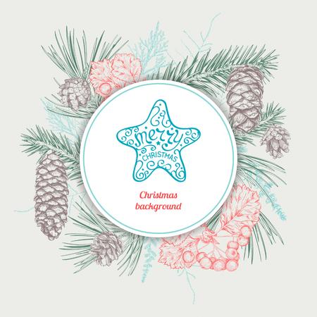 Kerstmis en Nieuwjaar achtergrond met verschillende takken en kegels. Hand getrokken schets. Ontwerp voor wenskaarten, kalenders, banners en uitnodigingen.