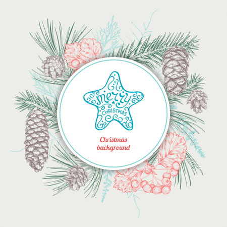 Christmas and New Year background with different branches and cones. Hand drawn sketch. Design for greeting cards, calendars, banners and invitations. Illustration