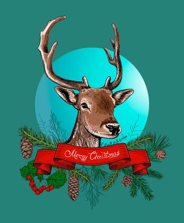 Kerst vector met herten