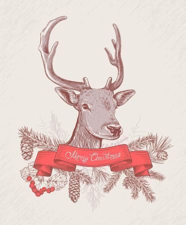 Kerstmis en Nieuwjaar achtergrond met herten, lint, verschillende takken en kegels. Dennenboom, ceder, dennen, arborvitae, meidoorn. Hand getrokken schets. Ontwerp voor wenskaarten, kalenders, banners