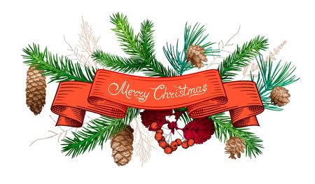 Kerstmis en Nieuwjaarsdecoratie met lint, verschillende takken en kegels. Hand getrokken schets. Ontwerp voor wenskaarten, kalenders, banners, uitnodigingen.