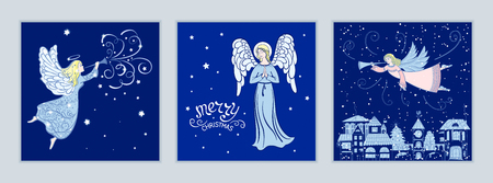 Set Weihnachtskarten mit Engeln. Entwerfen Sie für Grußkarten, Kalender, Fahnen, Poster, Einladungsvektorillustration Standard-Bild - 90153543