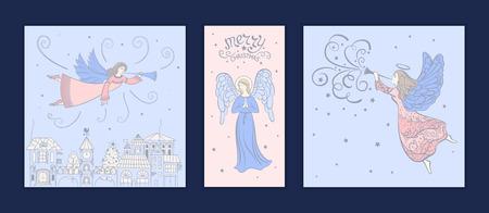 Set Weihnachtskarten mit Engeln. Entwerfen Sie für Grußkarten, Kalender, Fahnen, Poster, Einladungsvektorillustration Standard-Bild - 90153597