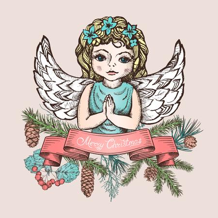 Kerstkaart met engel, lint, verschillende takken en kegels. Dennenboom, ceder, dennen, arborvitae, meidoorn. Hand getrokken schets. Ontwerp voor wenskaarten, agenda's, spandoekenuitnodigingen Stock Illustratie