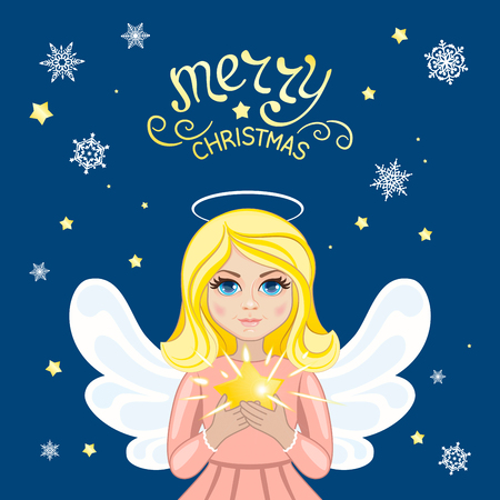 Beautiful angel holding in her hands the shining Christmas star. Template for greeting cards, calendars, banners, invitations.