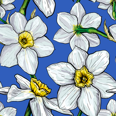 Seamless pattern with flowers of Narcissus. Hand drawn sketch. Template for textile floral design