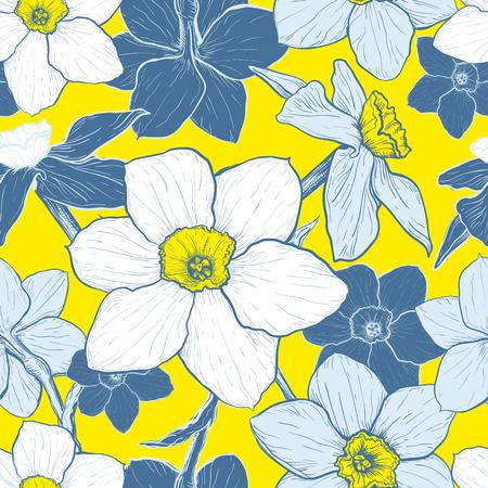 Naadloos patroon met bloemen van Narcissus. Hand getrokken schets. Sjabloon voor textiel bloemmotief