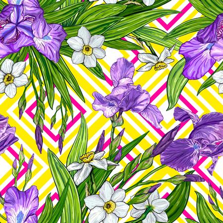 Nahtloses Muster mit Iris und Narzisse blüht auf einem geometrischen Hintergrund. Hand gezeichnete Skizze. Vorlage für textile Blumenmuster Vektorgrafik