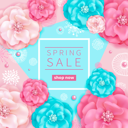 Spring sale background with pink and turquoise decorative flowers, abstract elements hand drawn texture. Design for greeting cards, calendars, banners, posters, invitations.