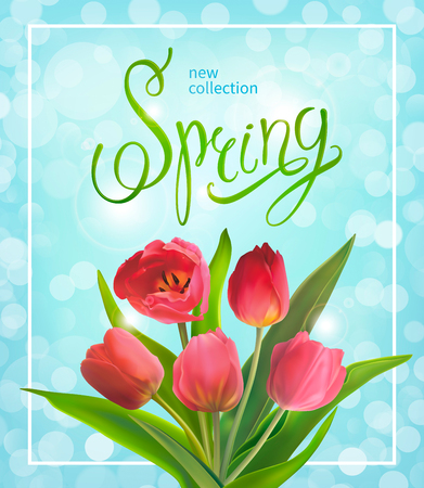 Beautiful Spring background on a blue background with bouquet of red tulips. Template for greeting card and banners on 8 March, Mother s Day, Birthday, Spring Sale. Vector illustration.
