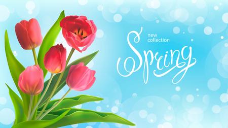 青い背景に赤いチューリップの美しい春の花束。3月8日、母の日、誕生日、春セールのグリーティングカードとバナーのためのテンプレート。ベクト