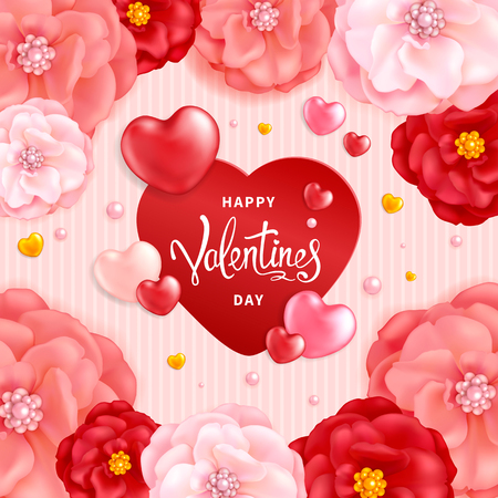 Happy Valentines day background with decorative red and pink flowers and hearts.