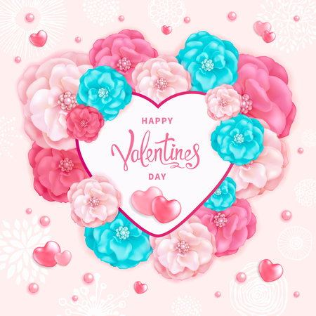 Happy Valentines day background with decorative red, pink and turquoise flowers and hearts. 向量圖像