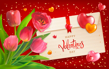 Composition with bouquet of red tulips, envelope, hearts and sequins. Happy Valentines Day background. Template for greeting card, calendar, banner, poster, invitation, advertising, the announcement of the sale to February 14.