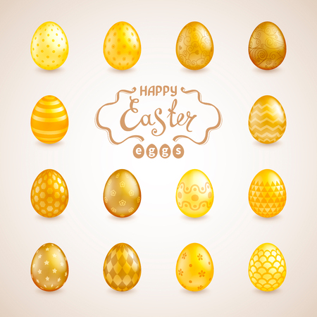 Set of 14 glossy realistic golden Easter eggs with different patterns. The words Happy Easter. Template for greeting cards, calendars, banners, posters, invitations. Vector illustration