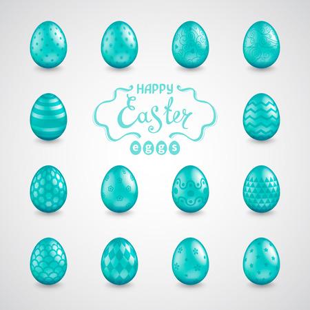 Conjunto de 14 ovos de Páscoa brilhantes realistas com diferentes padrões e as palavras feliz Páscoa. Modelo para cartões, calendários, banners, cartazes, convites. Ilustração vetorial Foto de archivo - 94311719