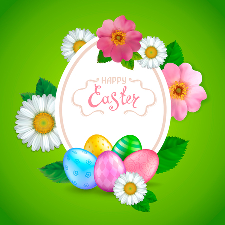 Easter greeting card with realistic glossy 3D eggs, flowers daisy and rosehip. Handwriting inscription Happy Easter. Green background. Template for cards, banners, posters, calendars, invitations.