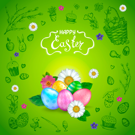 Easter background with realistic glossy 3D eggs, flowers daisy and rosehip. Handwriting inscription Happy Easter. Green background with hand drawn elements. Template for greeting cards, banners, posters, calendars, invitations.