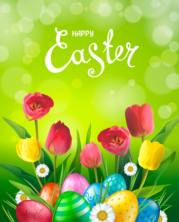 Easter greeting card with realistic glossy 3D eggs, red and yellow flowers tulip, daisy. Inscription Happy Easter. Green background. Template for cards, banners, posters, calendars, invitations.