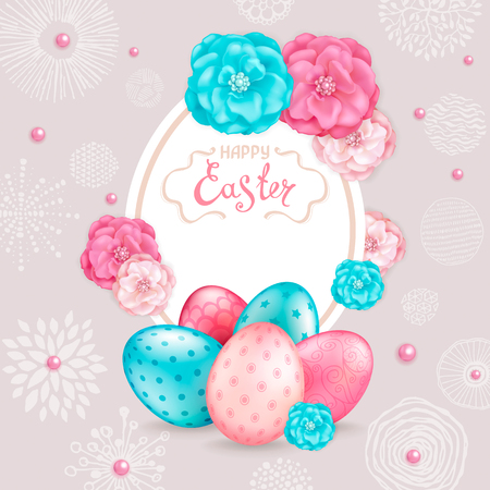 Easter greeting card with realistic glossy 3D eggs, decorative roses flowers and hand drawing graphic elements. Inscription Happy Easter. Template for cards, banners, posters, calendars, invitations.