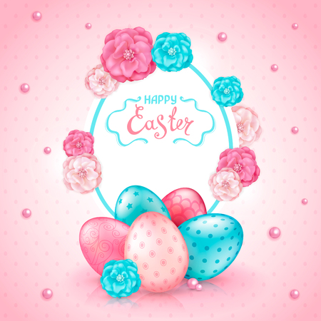 Easter greeting card with realistic glossy 3D eggs, decorative roses flowers and beads. Inscription Happy Easter. Template for cards, banners, posters, calendars, invitations, sale announcement