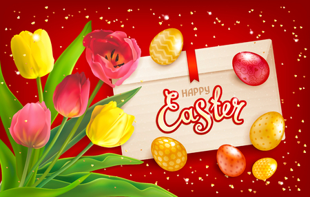 Easter composition with bouquet of red and yellow tulips, envelope, realistic glossy golden eggs and sequins. Inscription Happy Easter. Template for cards, banners, posters, calendars, invitations. Illustration