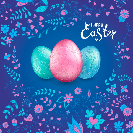 Three shiny Easter eggs pastel colors on a dark blue background with floral hand drawn pattern. The words Happy Easter. Template for greeting cards, calendars, banners, posters, invitations.