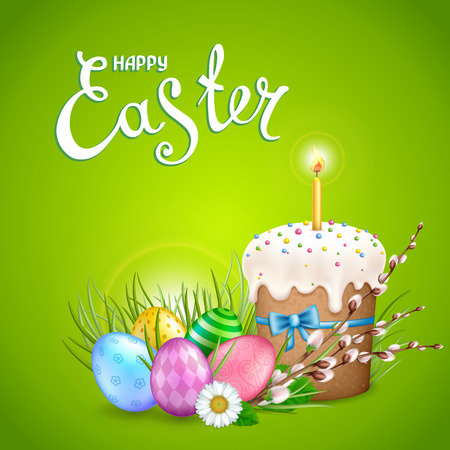 Easter greeting card with realistic glossy eggs, cake, candle, willow twigs, flowers daisy. Inscription Happy Easter. Green background. Template for cards, banners, posters, calendars invitations