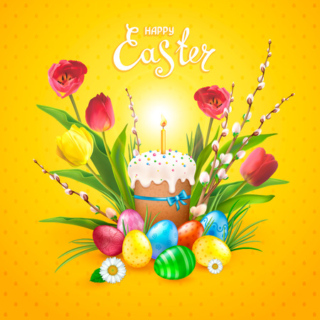 Easter composition with realistic glossy eggs, cake, candle, willow twigs, flowers daisy and tulips. Inscription of Happy Easter yellow background. Template for cards, banners, posters, calendars and invitations.