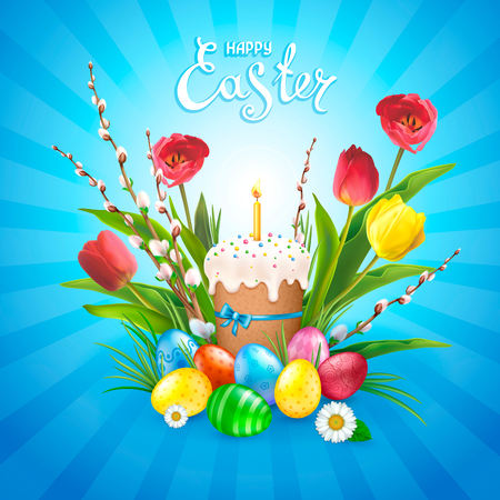 Easter composition with realistic glossy eggs, cake, candle, willow twigs, flowers daisy and tulips. Inscription of Happy Easter blue background. Template for cards, banners, posters, calendars and invitations. Illusztráció