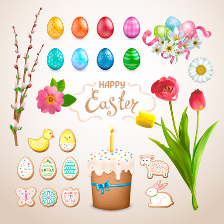 Set of Easter items. Painted eggs with different patterns, cake, cookies in the form of eggs, chicken, Bunny, lamb, flower. Bouquet of tulips, daisies, cat willows, wild rose, zephyranthes with ribbons. The Words Happy Easter Illustration