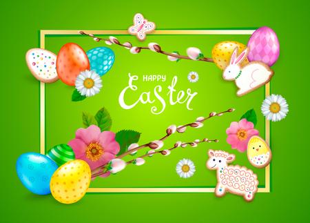 Inscription Happy Easter. Green background. Illustration