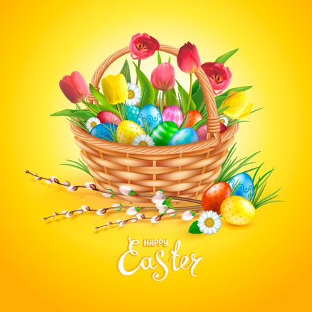 Easter composition with realistic glossy eggs in basket, willow twigs, flowers daisy and tulips. Inscription Happy Easter. Yellow background. Template for cards, banners, posters, calendars, invitations